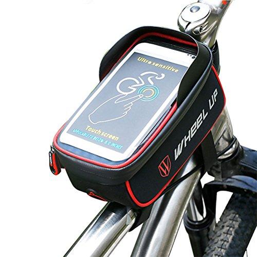 WDGT Fahrrad-Satteltasche-Fahrrad-Rahmen-Beutel-Handy-Tasche 5.5-Zoll-Wasserdichte Wasserdichte Reißverschluss-Touch Screen Radfahren Für Samsungs-Galaxie S6,Red