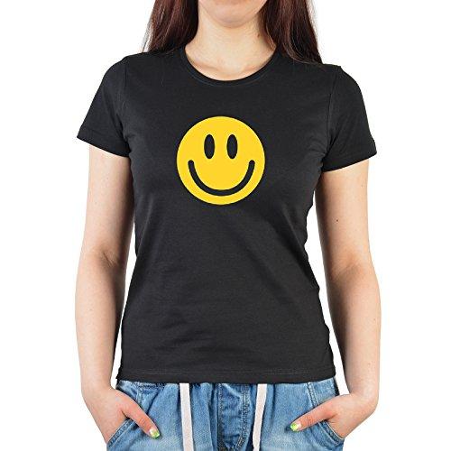 cooles Fun TShirt mit lachendem Smiley, Farbe schwarz, für Damen, ideal  auch als Geschenk Schwarz für Damen