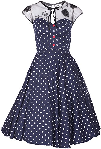 Küstenluder KESHIA Polka Dots Vintage Lace Punkte SWING Dress Kleid Rockabilly