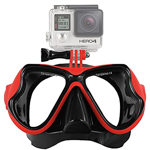 Aokon GoPro Hero4/Hero3+/3 SJ Session Multi-function Dive Mask Glasses for Scuba Diving and Snorkeling(Red)