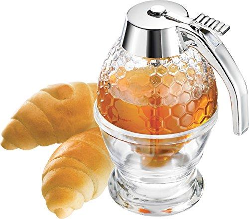 Westmark Honigbirne/Honig-Dosierer mit Untersatz, Fassungsvermögen: 200 ml, Wabenmuster, Glas/Kunststoff, Deluxe, Transparent/Silber, 65132260
