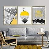 Nordique Affiche Affiches Et Gravures Abstraites Jaune Géométrique Peinture Mur Photos pour Salon Affiche Quadri Quadro sans Cadre (50x70 cm)
