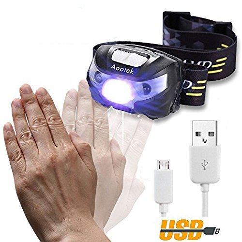 LED Stirnlampe,Aootek Stirnlampe Scheinwerfer - USB wiederaufladbar Cree Led, am besten für Aktivitäten im Freien/Innern, freihändiges SENSOR EIN-/AUS-schalten. 3 Modi - Extremes CREE Licht, weißes LED-Licht, blinkend und als Notleuchte. Wasserdicht, super hell, leicht & komfortabel, einfach zu bedienen.