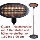 WOHNWERK - Quarz Stand Heizstrahler Terrassenheizer ,Terrassenheizstrahler - 3 Heizstufen - Höhenverstellbar