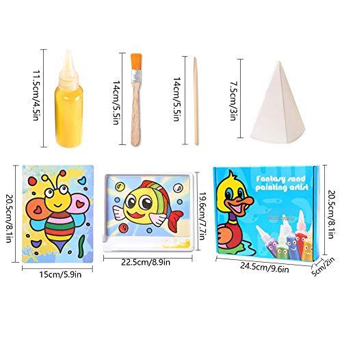 Farbige Sand Art Kit Kunst, 12 Farbe Sand Scenic Sand mit 10 Blatt Sand Kunst Malerei Karten Set Kinder Kunst Spielzeug (0,92 LB)