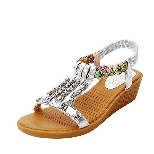 XY&GKSommer Hang mit Sandalen Strass mit flachem Boden Sandalen, komfortabel und schön 38 Silver