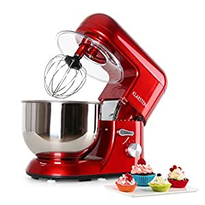 Klarstein Bella Rossa - Robot de cuisine multifonction - robot patissier tout-en-un : fouet, pétrin, crochet... (1200W, bol mélangeur en inox de 5L, 6 vitesses) - rouge