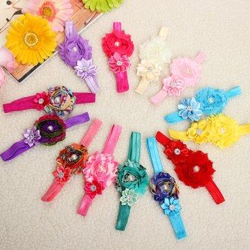 Chiffon Juwel (Hohe Qualität Kind-Mädchen- Baby-Blumen -Stirnband Juwelen Chiffon bownot Haarschmuck - Red)