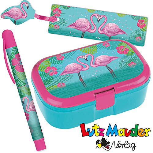 Neu: 3-tlg. Schule-Set * Flamingo * für die Grundschule   mit Kugelschreiber + Brotdose + Lesezeichen   Kinder Einschulung Mädchen pink Tier Lunchbox Stift