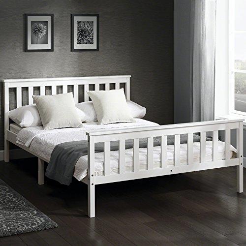European beds direct struttura letto in robusto legno di pino, larghezza 142 cm