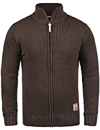 7cec83ca5936 Solid Poul Men s Cardigan Chunky Knit Jacket With Funnel Neck