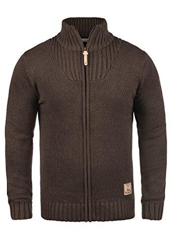 !Solid Poul Herren Strickjacke Cardigan mit Stehkragen aus Hochwertiger Baumwollmischung, Größe:XL, Farbe:Coffee Bean Melange (8973)