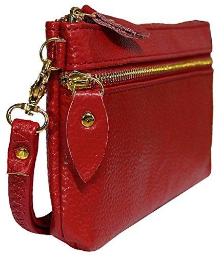 Top In Vera Pelle Lucida Premium Kukubird & Laterali Con Zip Con Cinturino Gestire Portafoglio Portamonete Donna Clutch Red