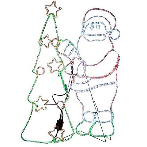 WeRChristmas Pre-Lit Animated Santa and Tree Rope Light Silhouette, 111 cm - Large, Multi-Colour