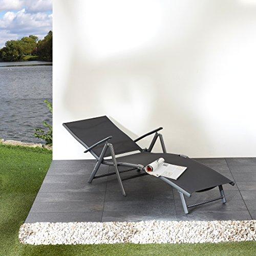 Ultranatura Aluminium Sonnenliege, Korfu Serie, grau, 180 x 55 x 35 cm - 6