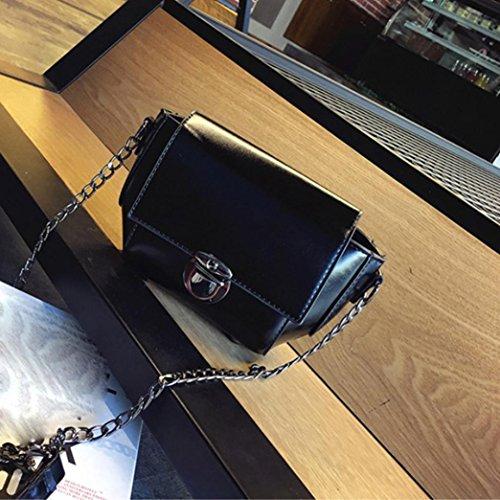 Moda Donna Artificiale In Pelle Spalla Borsa Catena Strap Messenger Borse  Fibbia In Metallo di Kangrunmy Nero 508b3072373