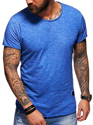 beda4722460531 Behype Herren Oversize Kurzarm Basic T-Shirt Rundhals O-Neck 20-1730 Blau