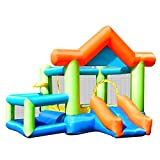GYMAX Kid Bouncy Castle Inflatable Jumper House Bouncer W/ Basketball & Hoop Indoor
