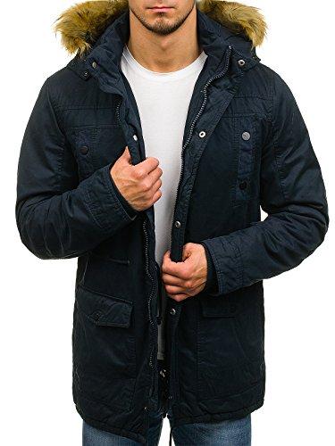 BOLF Herren Jacke Parka Winterjacke mit Kapuze Reißverschluss Knopfleiste täglicher Stil Extreme 1771 Dunkelblau XXL [4D4] |