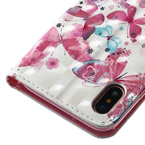 Funyye Custodia Per iPhone X 5.8 Cover Pelle Portafoglio Libro Copertura con [Gratis Pellicola Protettiva] Supporto Stand Porta Carte Chiusura Magnetica protettivo Caso Per Apple iPhone X 5.8 Flip W Piccola farfalla
