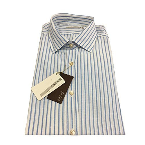 Xacus camicia uomo rigata bianco/azzurro 55% lino 45% cotone vestibilità slim (45-18)