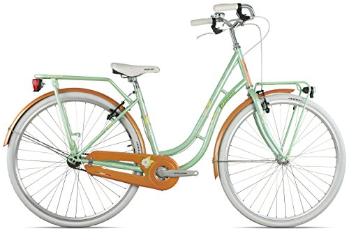 Legnano Ciclo 251 Fenicottero, City Bike Donna, Verde/Arancione, 44