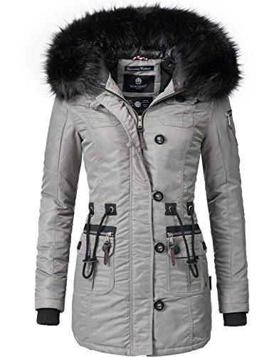 Marikoo Damen Mantel Wintermantel Winterparka Elle (vegan hergestellt) Grau Gr. XL