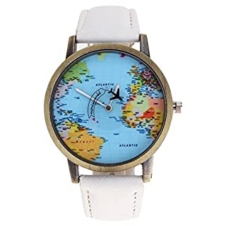 Arpoador Men Fashion Mini World Map Plane Electronic Wristwatch Denim Leather Band Watch - White