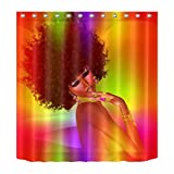 Afro Hairstyle,Young Girl,Gold Jewelry,Purple_Decor Shower Curtain,Polyester Fabric Water Resistant Bathroom Curtain Set with 12 Hook,180x180 CM