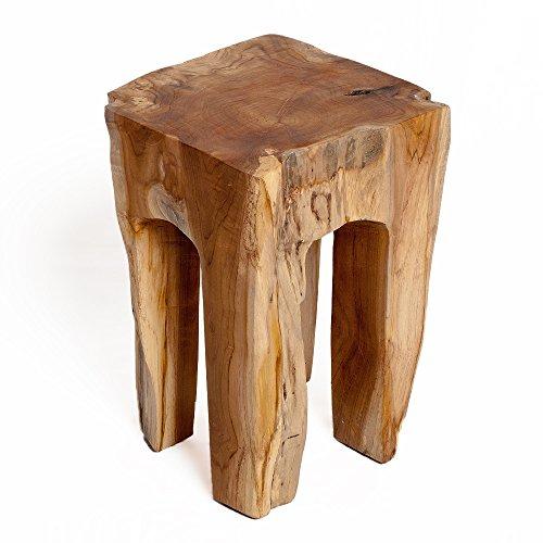 Nachttisch-hocker (LEBENSwohnART Teak Hocker Zahn H40cm Beistelltisch Massivholz Nachttisch Holzhocker Handarbeit)