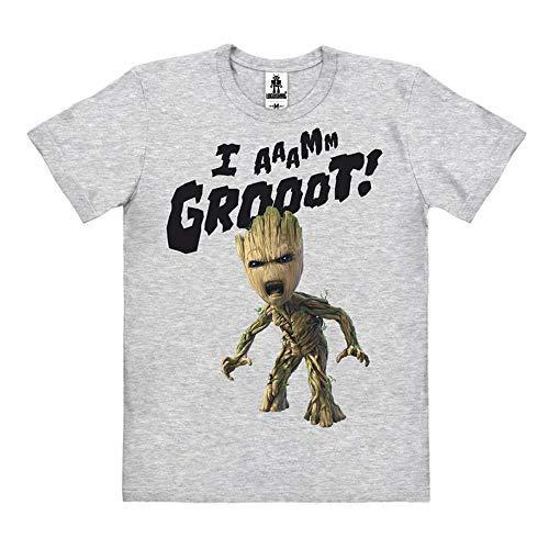 Logoshirt - Marvel Comics - Film - Guardians of The Galaxy - Groot - I Aaamm Grooot - T-Shirt Organic Herren - Grau-meliert - Bio Baumwolle - Organic Cotton - Lizenziertes Originaldesign, Größe S (Wie Man Den Marvel-weg)