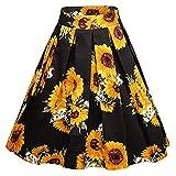 Amphia - Damen Mini Skater Rock,Frauen Vintage A-Linie Floral hohe Taille gedruckt Plissee ausgestelltes Kleid Midi Röcke