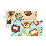 Bumkins waterproof snack bag, Owls and Forest Friends, 2 Count