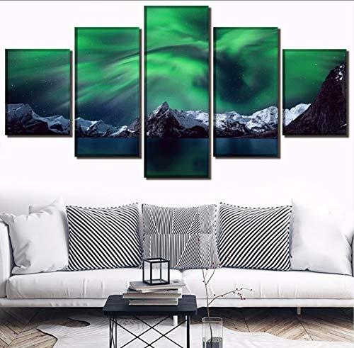 Leinwanddruck Malerei 5 Panels Norwegen Berg Aurora Tiff Bild Moderne Druckart Stil Wandkunst Dekor Poster Rahmen