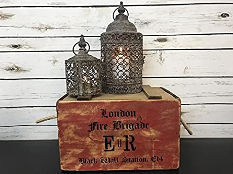 S/2 Antique Vintage Metal Pillar Tealight Hanging Lantern Lamp Candle Holders