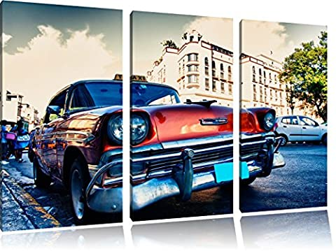 Voiture ancienne dans les rues de La Havane 3-piece Canvas Art 120x80 image on canvas, XXL huge Pictures completely framed with stretcher, Art print on wall picture with frame, gänstiger as a painting or an oil painting, not a poster or banner