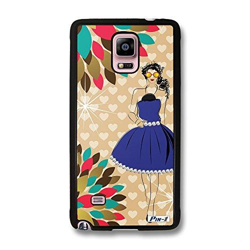 Pin-1 Hülle, Harte Rückseite und TPU-Bumper Schutzhülle für [Samsung Galaxy Note 4] - Fashion design girl with jewels DSE0241