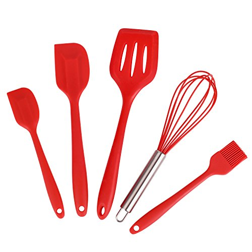 Spatel aus Silikon, WONTECHMI Küchenhelfer Set beinhaltet 5 hygienisch überzogene Silikon Küchenhelfer für Kochen und Backen, Die Spatel sind hitzebeständig und elastisch,Gummiüberzug ist in Rot