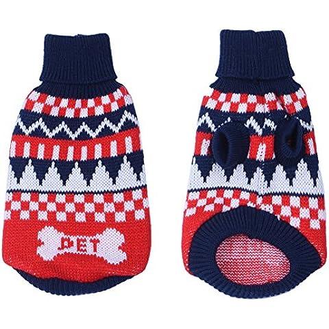 Perro cachorros suéter suéter de la capa caliente del animal doméstico ropa ropa - azul, XXL