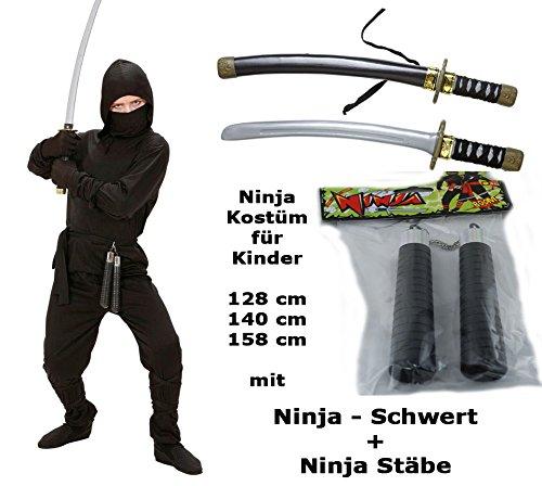 Kostüm Ninja mit Schwert + Stäbe Gr.140 cm -