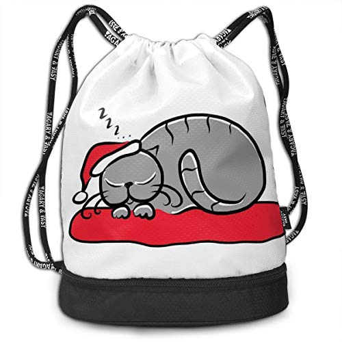 DPASIi Drawstring Backpacks Daypack Bags,Cat with Santa Claus Hat Whiskers On The Pillow Winter Night Cartoon Artwork,Adjustable String Closure -