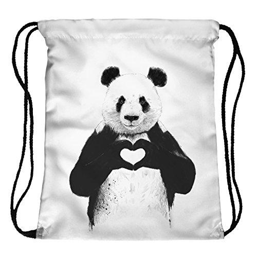 Fringoo Boys Girls Teenager Drawstring Bag School backpack Shoulder PE Bag Gym Bag Travel Pouch (H40 x L33 cm, Panda Heart)