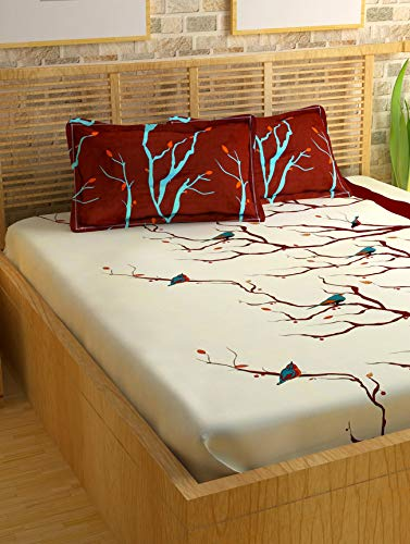 Story@Home Metro Mercerized Collection 182 TC Cotton Printed 1 Double Bedsheet and 2 Pillow Covers Set - Nature, Brown