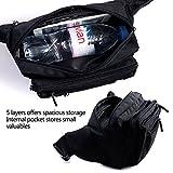 [Gürteltasche] FREETOO Bauchtasche Multifunktionale Hüfttasche 5 Fächer mit Reißverschluss geeignet für Reise Wanderung und alle Outdoor-aktivitäten Schwarz für Damen und Herren -