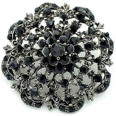 Stile Vintage, con decorazioni floreali, colore: nero, strass BR273 Spilla