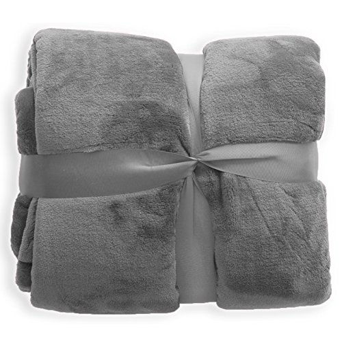 casa pura Mink Faux Fur Throw, Grey – 150 x 200 cm | Large Sofa & Bed Blanket | 3 Sizes in 8 Colours Available
