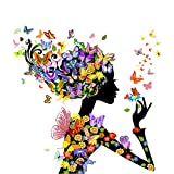 AIHOME 5D Diamond Painting Embroidery Set Cross Stitch Kits Gril and Butterfly for Home Decoration