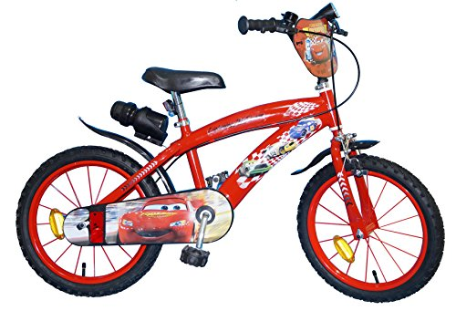 TOIMS Cars - Bicicleta Infantil para niño, Color Rojo, tamaño 16 Pulgadas