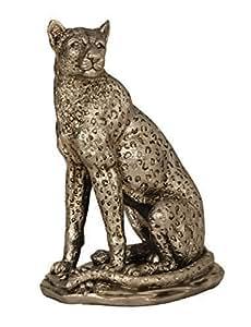 Haute Qualité et exclusif Sculpture Léopard argent ancien Hauteur 25 cm