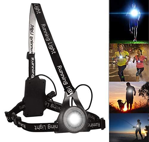 Éclairage Pour Course, BraceTek Lampe de Poitrine pour Course Rechargeable USB 3 Mode d'éclairage,A Une lumière Rouge sur Le Dos avec la sécurité,Parfait pour Les Coureurs de Nu